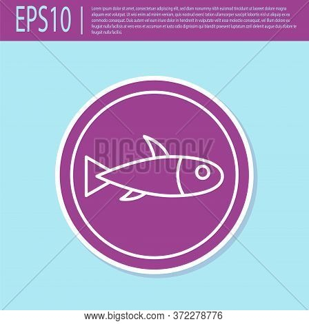 Retro Purple Served Fish On A Plate Icon Isolated On Turquoise Background. Vector.