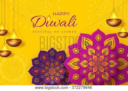 Diwali Festival Holiday Design With Paper Cut Style Of Indian Rangoli And Hanging Diya - Oil Lamp. P
