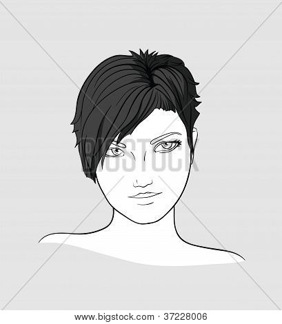 Portrait of short haired brunette woman