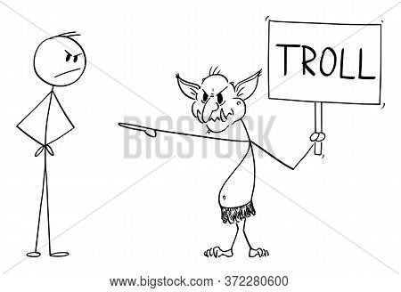 Vector Cartoon Stick Figure Drawing Conceptual Illustration Of Virtual Internet Troll Assaulting Ano