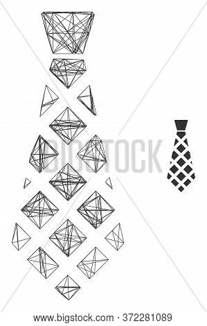 Web Mesh Checkered Tie Vector Icon. Flat 2d Carcass Created From Checkered Tie Pictogram. Abstract C