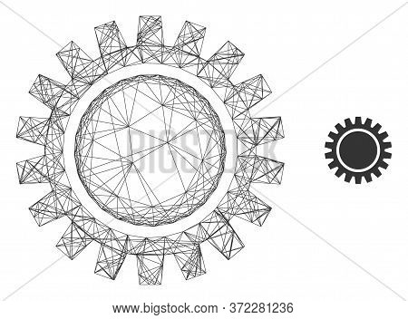 Web Carcass Cogwheel Vector Icon. Flat 2d Carcass Created From Cogwheel Pictogram. Abstract Carcass