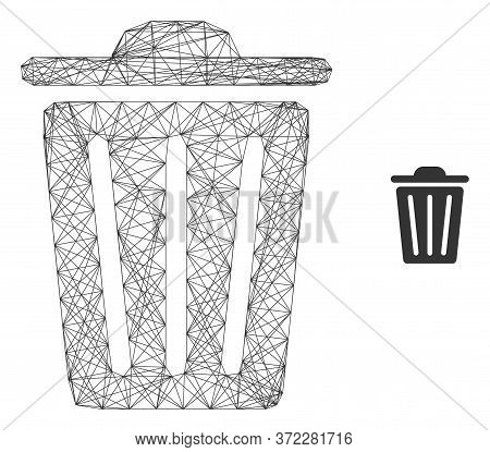 Web Mesh Trash Can Vector Icon. Flat 2d Model Created From Trash Can Pictogram. Abstract Carcass Mes