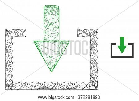 Web Mesh Download Vector Icon. Flat 2d Model Created From Download Pictogram. Abstract Frame Mesh Po