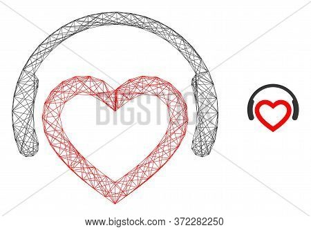 Web Mesh Romantic Dj Headphones Vector Icon. Flat 2d Carcass Created From Romantic Dj Headphones Pic