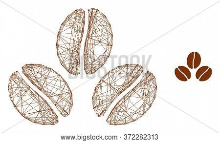 Web Mesh Cacao Beans Vector Icon. Flat 2d Carcass Created From Cacao Beans Pictogram. Abstract Carca