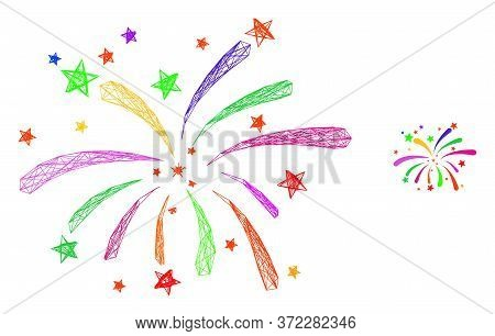 Web Mesh Fireworks Vector Icon. Flat 2d Carcass Created From Fireworks Pictogram. Abstract Carcass M