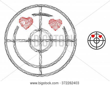 Web Net Love Hearts Radar Vector Icon. Flat 2d Carcass Created From Love Hearts Radar Pictogram. Abs