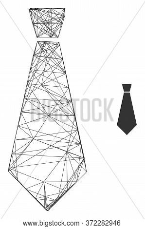Web Network Male Tie Vector Icon. Flat 2d Carcass Created From Male Tie Pictogram. Abstract Carcass