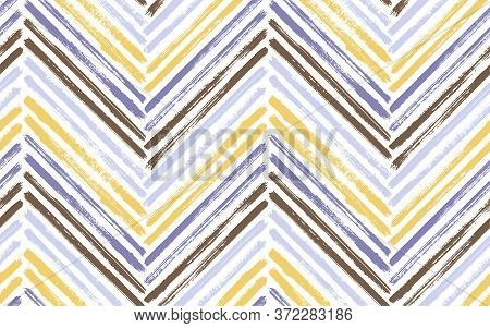 Abstract Chevron Interior Print Vector Seamless Pattern. Ink Brushstrokes Geometric Stripes. Hand Dr