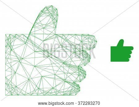 Web Carcass Thumb Up Vector Icon. Flat 2d Carcass Created From Thumb Up Pictogram. Abstract Carcass