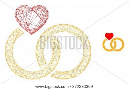 Web Carcass Marriage Rings Vector Icon. Flat 2d Carcass Created From Marriage Rings Pictogram. Abstr