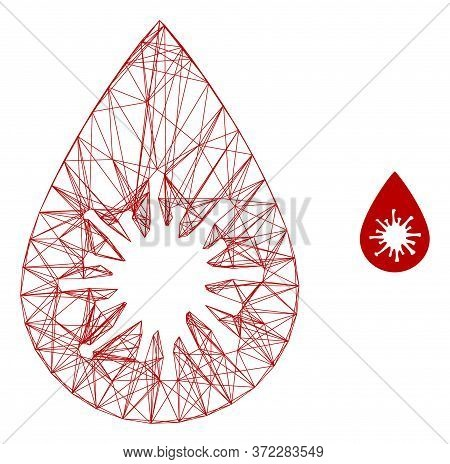 Web Carcass Infected Blood Drop Vector Icon. Flat 2d Carcass Created From Infected Blood Drop Pictog