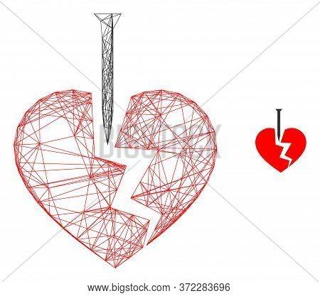 Web Mesh Break Valentine Heart Vector Icon. Flat 2d Carcass Created From Break Valentine Heart Picto