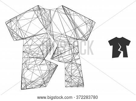 Web Net Torn T-shirt Vector Icon. Flat 2d Carcass Created From Torn T-shirt Pictogram. Abstract Fram