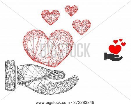 Web Carcass Hand Offer Love Hearts Vector Icon. Flat 2d Carcass Created From Hand Offer Love Hearts