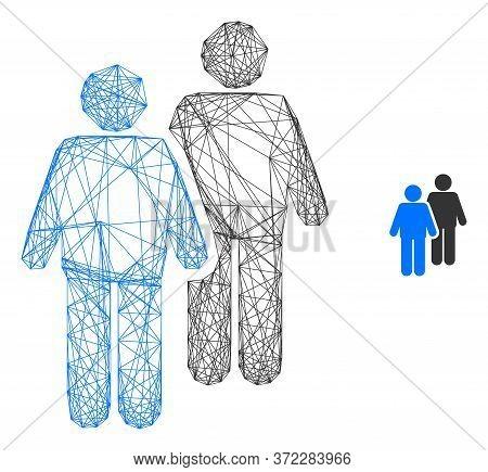 Web Carcass Gay Persons Couple Vector Icon. Flat 2d Carcass Created From Gay Persons Couple Pictogra