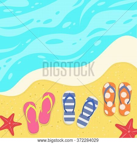 Summer Background With Slates On The Sand By The Sea. Vector Illustration.
