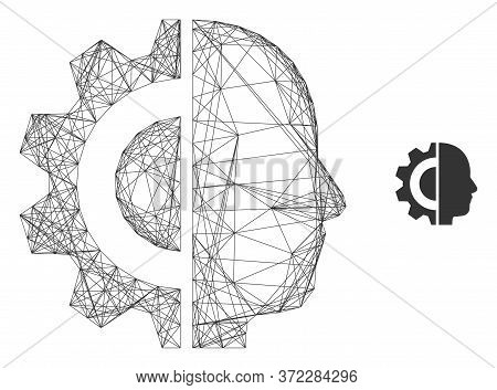 Web Carcass Cyborg Head Vector Icon. Flat 2d Carcass Created From Cyborg Head Pictogram. Abstract Ca