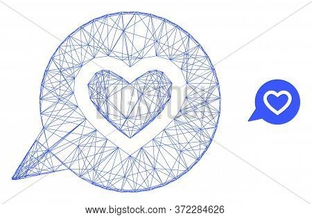 Web Network Favourite Heart Message Vector Icon. Flat 2d Carcass Created From Favourite Heart Messag