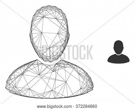 Web Carcass User Vector Icon. Flat 2d Carcass Created From User Pictogram. Abstract Frame Mesh Polyg