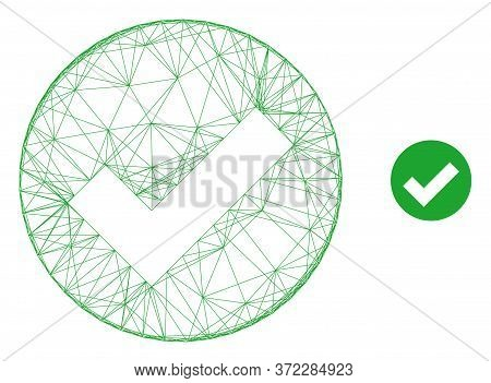 Web Mesh Valid Vector Icon. Flat 2d Carcass Created From Valid Pictogram. Abstract Carcass Mesh Poly