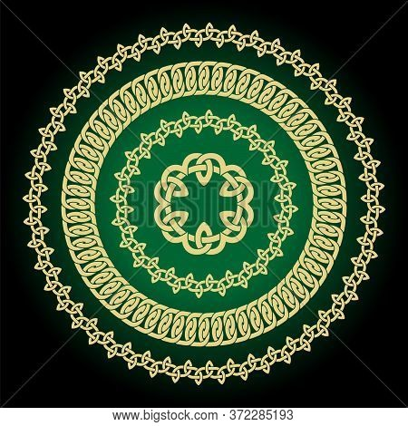 Vector Set Of Round Celtic Knots Frames. Traditional Medieval Frame Pattern. Scandinavian Or Celtic