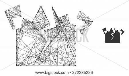 Web Mesh Destruction Vector Icon. Flat 2d Carcass Created From Destruction Pictogram. Abstract Carca