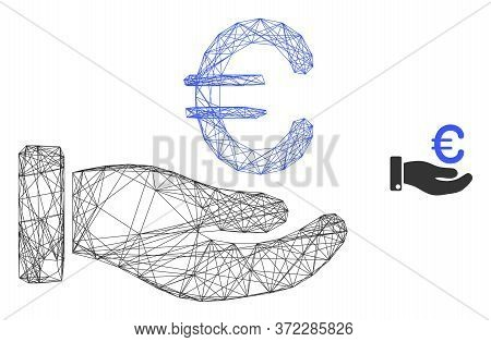 Web Mesh Hand Give Euro Vector Icon. Flat 2d Carcass Created From Hand Give Euro Pictogram. Abstract