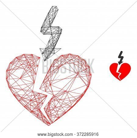 Web Carcass Break Love Heart Vector Icon. Flat 2d Model Created From Break Love Heart Pictogram. Abs