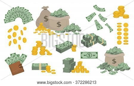Set Of Various Money Bills Dollar And Gold Coins. Vector Illustration.