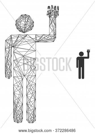 Web Net Man Fist Up Vector Icon. Flat 2d Carcass Created From Man Fist Up Pictogram. Abstract Carcas