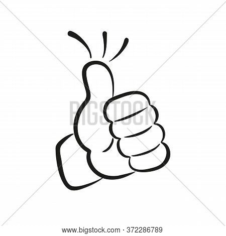 Thumb Up Or Best Ok Hand Gesture. Vector Illustration.