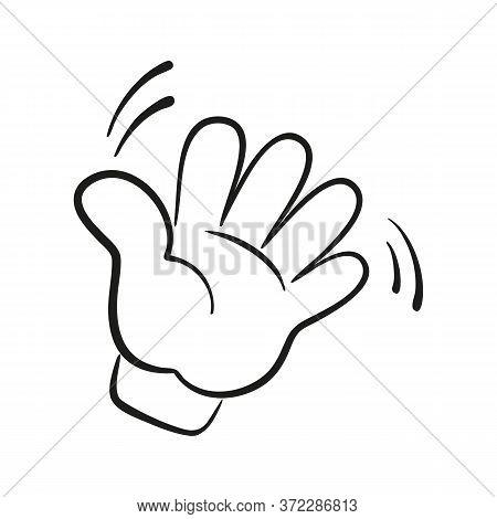 Hi Or Hello Hand Gesture. Vector Illustration.