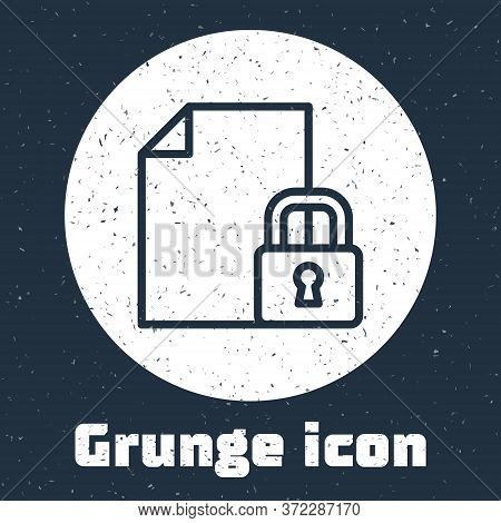 Grunge Line Document And Lock Icon Isolated On Grey Background. File Format And Padlock. Security, S