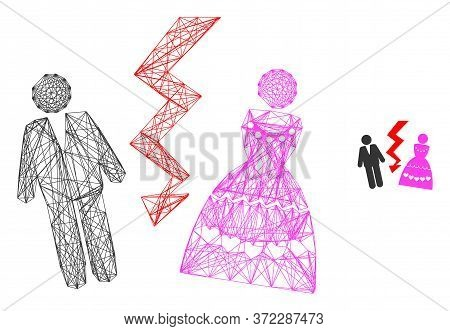 Web Carcass Divorce Persons Vector Icon. Flat 2d Carcass Created From Divorce Persons Pictogram. Abs