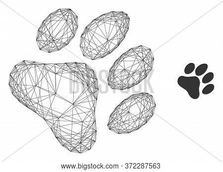 Web Mesh Paw Footprint Vector Icon. Flat 2d Carcass Created From Paw Footprint Pictogram. Abstract F