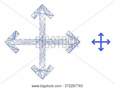 Web Network Enlarge Arrows Vector Icon. Flat 2d Carcass Created From Enlarge Arrows Pictogram. Abstr