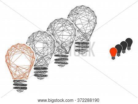 Web Carcass Lamp Bulbs Vector Icon. Flat 2d Carcass Created From Lamp Bulbs Pictogram. Abstract Fram