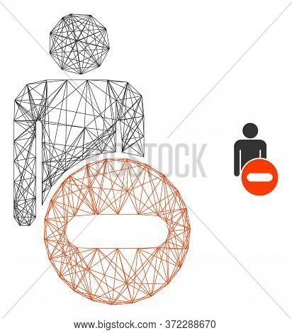 Web Carcass Remove Man Figure Vector Icon. Flat 2d Carcass Created From Remove Man Figure Pictogram.