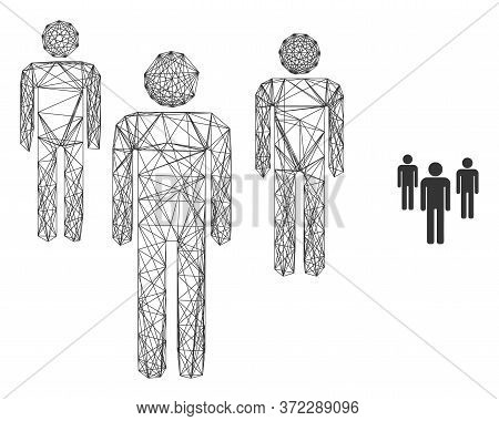 Web Mesh Men Figures Vector Icon. Flat 2d Carcass Created From Men Figures Pictogram. Abstract Frame