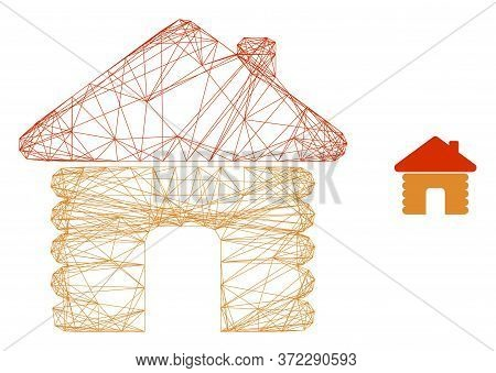 Web Mesh Wooden House Vector Icon. Flat 2d Carcass Created From Wooden House Pictogram. Abstract Fra