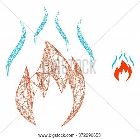 Web Network Fire With Smoke Vector Icon. Flat 2d Carcass Created From Fire With Smoke Pictogram. Abs
