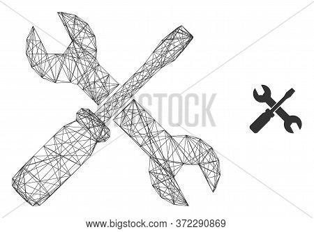 Web Carcass Screwdriver And Wrench Vector Icon. Flat 2d Carcass Created From Screwdriver And Wrench