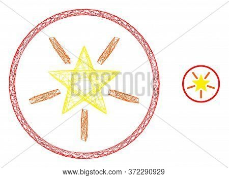 Web Carcass Rounded Shine Star Vector Icon. Flat 2d Carcass Created From Rounded Shine Star Pictogra