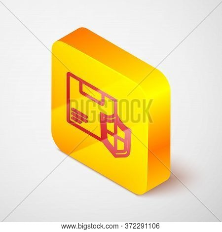 Isometric Line Delivery Security With Shield Icon Isolated On Grey Background. Delivery Insurance. I
