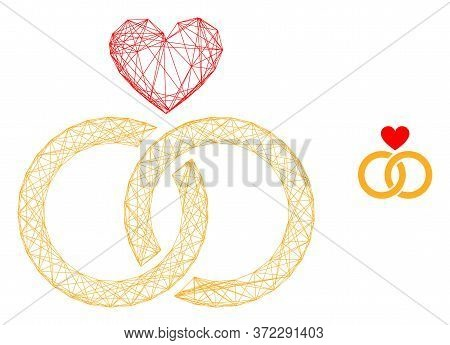 Web Carcass Romantic Rings Vector Icon. Flat 2d Carcass Created From Romantic Rings Pictogram. Abstr