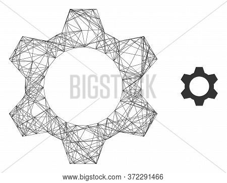Web Mesh Cog Vector Icon. Flat 2d Carcass Created From Cog Pictogram. Abstract Carcass Mesh Polygona