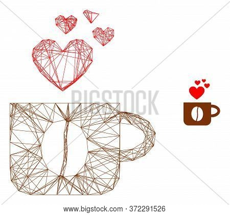 Web Carcass Love Coffee Cup Vector Icon. Flat 2d Carcass Created From Love Coffee Cup Pictogram. Abs