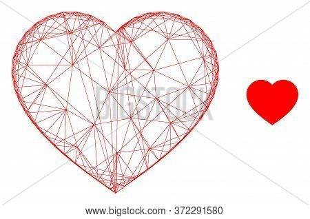 Web Mesh Love Heart Vector Icon. Flat 2d Carcass Created From Love Heart Pictogram. Abstract Carcass